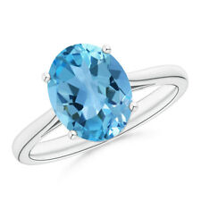 3.6ct Solitaire Oval Swiss Blue Topaz Ring 14k White Gold/ Platinum Size 3-13