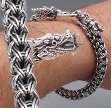 2 HEADED DRAGON WOVEN CHAIN HANDMADE MENS BRACELET 925 STERLING SILVER 8 - 10""