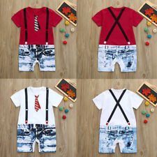 Pretty Toddler Baby Boys Tie Overalls Jeans Print Short Sleeve Romper Jumpsuit