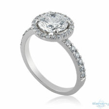 2 Tcw G SI1 Round Cut Halo Diamond Ring 14K White Gold Size 6.25 Engagement New