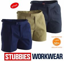 """PACK OF 6  STUBBIES MENS DRILL """"UTILITY"""" TAB SIDE REINFORCED WORK SHORTS BB5513"""