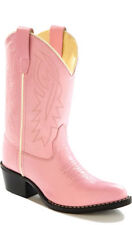 Old West Pink Childrens Girls Corona Leather J Toe Cowboy Western Boots