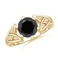 Solitaire Round Enhanced Black Diamond Celtic Knot Ring 14K Yellow Gold