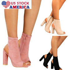 Women Ladies Chunky Boots Block High Heel Ankle Zipper Suede Peep Toe Shoes Size