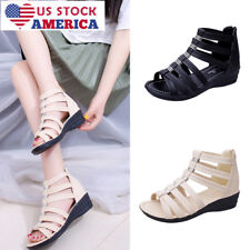 Womens Summer Low Wedge Beach Sandals Zip Back Ankle Strap Peep Toe Shoes Sizes