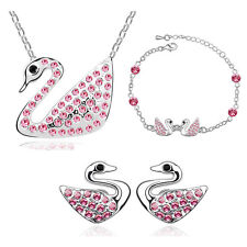 SWAN Necklace Earrings Bracelet in 18K White Gold Plated with SWAROVSKI Crystals