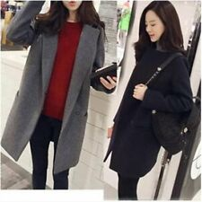 Women Winter Warm Wool Lapel Trench Parka Straight Coat Jacket Long Overcoat I5