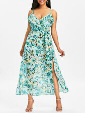Spaghetti Strap Floral Print High Slit Maxi Dress Ladies Ruffled Long Boho Dress