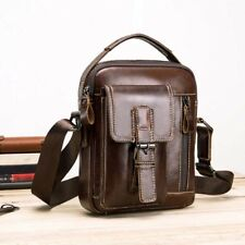 Men's Leather Crossbody Messenger Shoulder Bags Satchel Tablet Bag Small Handbag
