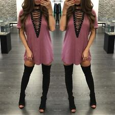 Women Deep V Neck Lace Up Short Sleeve Hollow Out Loose Above Knee Length Dress