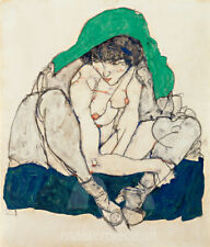 Crouching Woman with Green Headscarf by Egon Schiele Premium Giclee Print