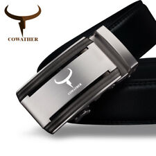 COWATHER® Black 100% Cow Genuine Leather Belt Silver Alloy Automatic Buckle Belt
