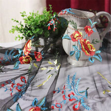 53'' Tulle Flowers Fabric Embroidery Lace Mesh DIY Wedding Dress 1/3/5 Meters