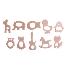 Wooden Safe Natural Cute Animal Shape Ring Baby Teether Teething Shower Toy BL