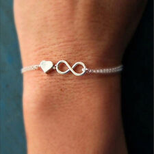 Gold Silver Lucky Number 8 Designed Love Heart Chain Bracelet Bangle Jewelry BLC