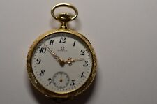 18k Solid Gold Omega Pocket Watch, Gorgeous Ladies Necklace Watch, Ornate 18k NR