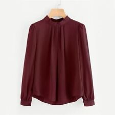 Women Pleated Button Back Chiffon O Neck Top Long Sleeve Pink Color Blouse