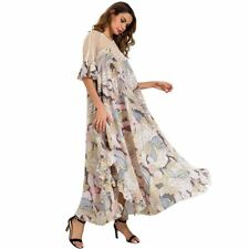 Women Ruffled Chiffon Half Sleeve Backless Floral Pattern Ankle-length Dress