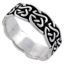 Sterling Silver Celtic Knot Ring Wedding Band Thumb Ring 1/4 inch wide, sizes 6