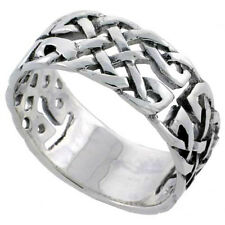 Sterling Silver Celtic Knot Ring Wedding Band Thumb Ring 3/8 inch wide, sizes 6