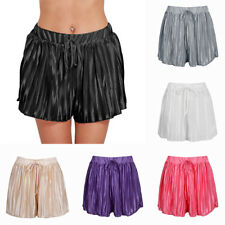Summer Casual Pleated Chiffon Shorts Elastic Waistband Culottes Wide Legs Women