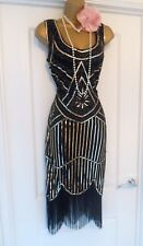 Vintage 1920s Flapper Charleston Sequin Beaded Fringe Tassel Dress Size 14/16 XL