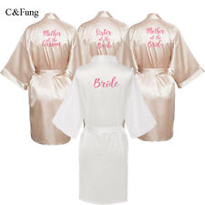 C&Fung® Sexy Champagne Robe Bride Kimono Satin Hens Women Bathrobe Wedding