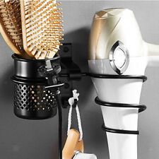 Aluminum Hair Dryer Holder Wall Mount Spiral Rack Toothbrush Combs Cups Set