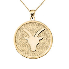 Solid 10k Yellow Gold Capricorn Zodiac Disc Pendant Necklace