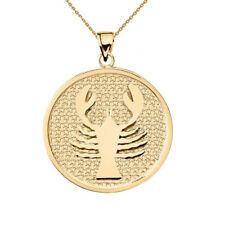 Solid 14k Yellow Gold Cancer Zodiac Disc Pendant Necklace