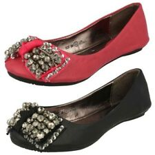 Girls Cutie Casual Slip On Ballerina Pumps with Jewelled Bow