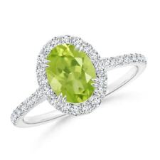 1.4tcw Solitaire Natural Peridot Diamond Engagement Ring in 14k Gold/Platinum