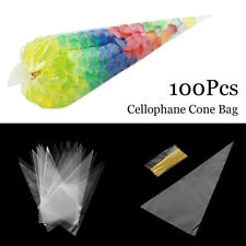 Large Clear Cellophane Cone Bags Kids Party Plastic Cello Sweet Candy Bag CA