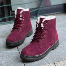 Womens Ankle Snow Boots Winter Warm High Top Lined Flat Shoe With Velvet Lace up