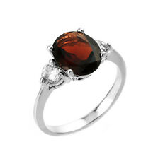 2.0 CTW Oval Garnet Three Stone Engagement Ring in White Gold
