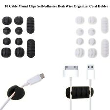 10Pcs Durable Cable Mount Clips Self-Adhesive Desk Wire Organizer Cord Holder HM