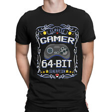CLASSIC 64-BIT GAMER Mens SEGA SATURN T-Shirt 90s Console Retro Gaming Top Gift