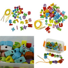 Wooden Blocks Lacing Beads Toy Puzzle Sorting Block Beads Educational Toys
