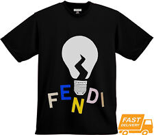 New 1Fendi Logo & Bulb Tee Casual 1Fendi Black T-Shirt S-3XL