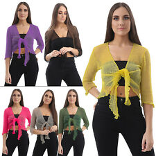 Womens Tie Up Open Front Shrug Ladies Knitted Cropped Bolero Short Cardigan Top