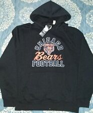 Mens Majestic NFL Chicago Bears Black Heather Football Pullover Hoodie Sz-M-2XL