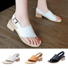 Summer Womens Flip Flop Toe Post Slingback Sandals Chunky Heel Buckle Shoes Size