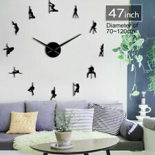 Pole Dance Frameless 3D DIY Modern Wall Clock Decoration with Mirror Numbers