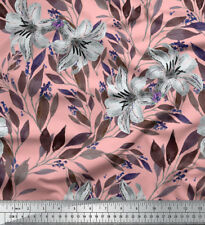 Soimoi Fabric Leaves & Lily Floral Printed Craft Fabric by the Yard - FL-1067I