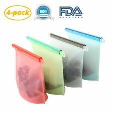 Self-sealing Bag Food Storage Lunch Container  Reusable Silicone Sustainable