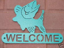 WALLEYE WELCOME SIGN HOME DECOR METAL CABIN FISHING