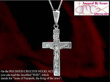 Solid Sterling Silver Polished Crucifix Cross with or w/o Sterling Chain