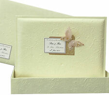 Personalised EXTRA LARGE Wedding Guest Book +Box Cream Mulberry 5Motifs/3Colours