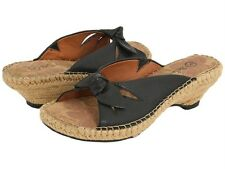 Bella-Vita Leather Slide Sandal-Espadrille Heel 3 Color