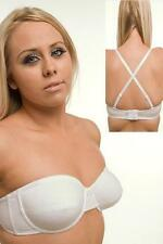 MULTIWAY CROSSOVER HALTERNECK UNDERWIRED STRAPLESS SOFT CUP BRA BLACK WHITE